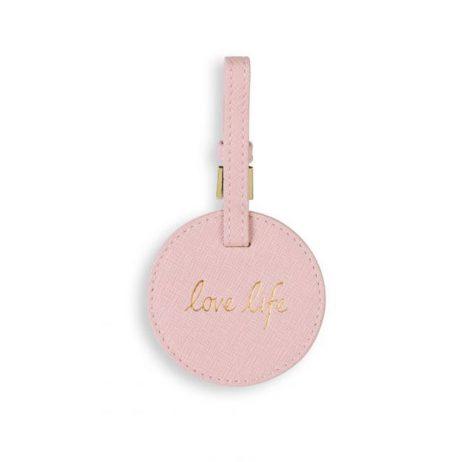 Katie Loxton Circle Luggage Tag Love Life Blush Pink KLB529
