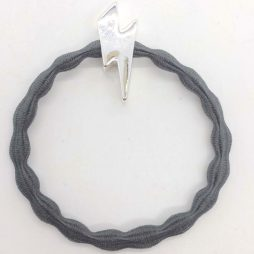Lupe Lightning Bolt Charm Hair Tie Bracelet - Grey Silver