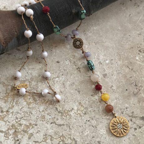 Hultquist Jewellery Semi Precious Multi Coloured Dima Gold Necklace 1527G