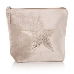 Shruti Designs Ta Da Cream and Gold Star Cosmetic Wash Bag