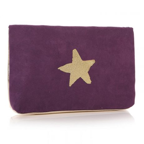 Shruti Designs Ta Da Star Clutch Bag Pouch | Purple and Gold