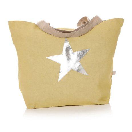 Shruti Designs Star Burst Shopper Bag | Khaki- Yellow