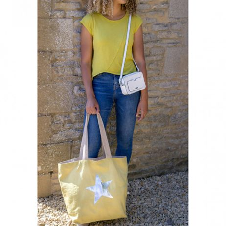 Shruti Designs Star Burst Shopper Bag | Khaki- Yellow - EOL