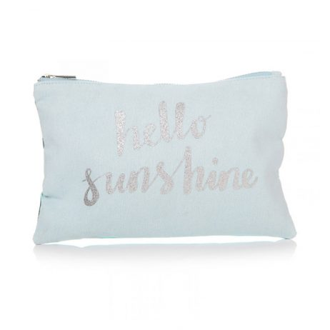 Shruti Designs Ta Da Hello Sunshine Cosmetic Bag Pouch | Teal and Silver