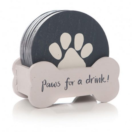 Shruti Designs Set of 6 Paws For a Drink Coasters | Furry Friends by Lisa Buckridge