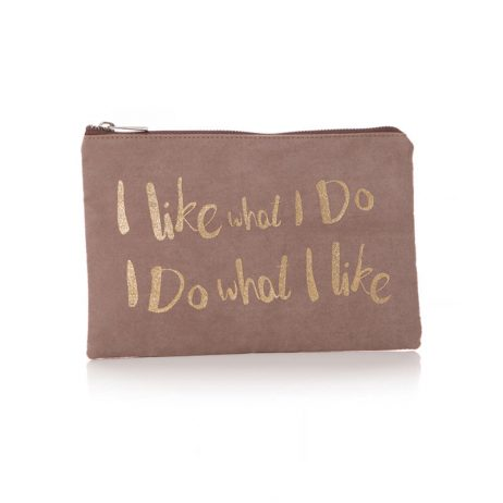 Shruti Designs Ta Da I Like Cosmetic Bag Pouch | Beige and Gold