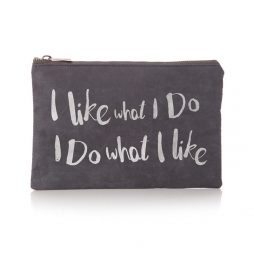 Shruti Designs Ta Da I Like Cosmetic Bag Pouch | Grey and Silver