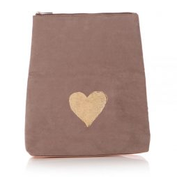 Shruti Designs Ta Da Heart Clutch Bag Pouch | Beige and Gold