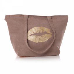 Shruti Designs Ta Da Lips Beige Tote Bag By Lisa Buckridge