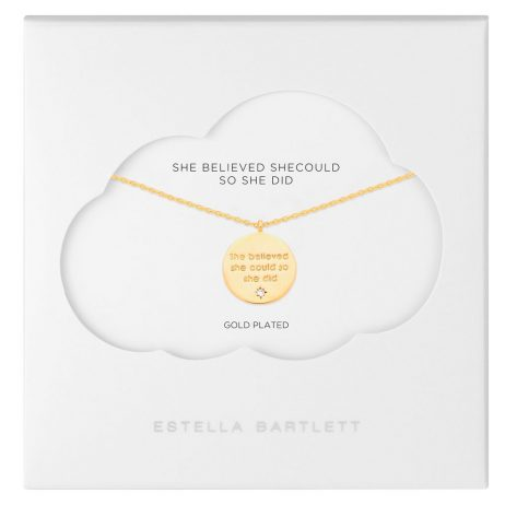 Estella Bartlett She Believed She Could So She Did Gold Plated Engraved Necklace EB2436C
