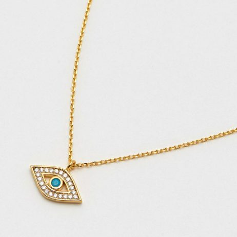 Estella Bartlett Lucky Eye Turquoise and CZ Gold Plated Necklace EB3479C