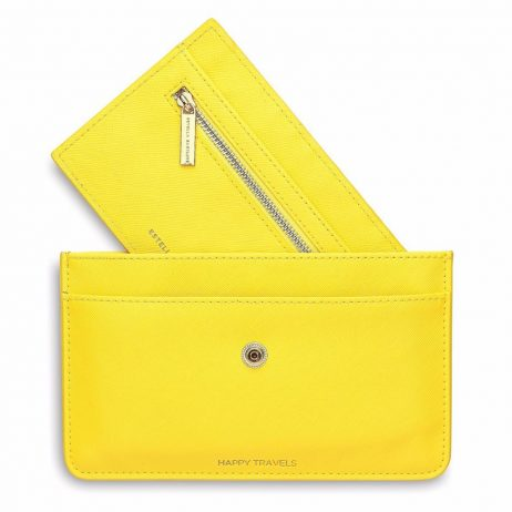 Estella Bartlett Happy Travels Yellow Travel Document Wallet