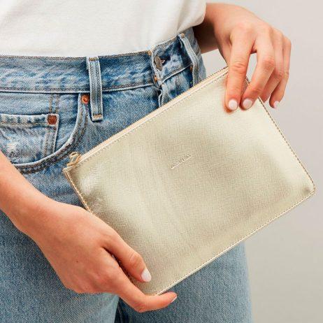 Estella Bartlett Dream Big Gold Pouch | Clutch Bag