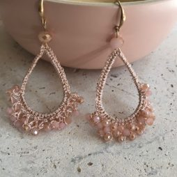 Hot Tomato Jewellery Rose Crochet Cradle of Crystals Gold Earrings
