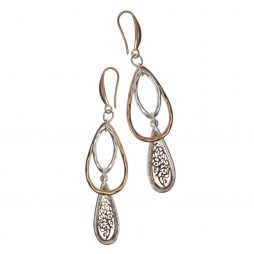 Hot Tomato Jewellery Teardrop Cluster Gold and Silver Drop Earrings