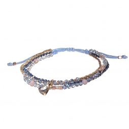 Hot Tomato Jewellery Blue Bead and Heart Crystal Friendship Bracelet
