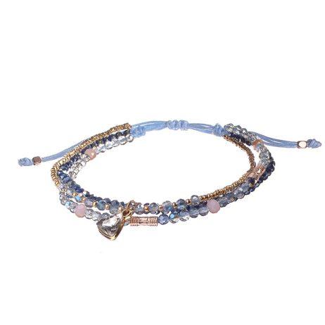 Hot Tomato Jewellery Blue Bead and Heart Crystal Friendship Bracelet
