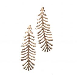 Hot Tomato Jewellery Articulated Feather Fern Gold Earrings