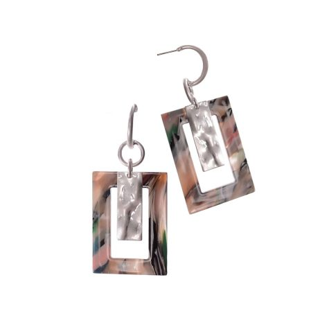 Hot Tomato Jewellery Multi-Coloured Acrylic Oversized Frame Earrings
