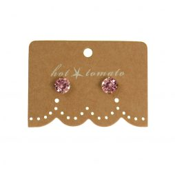 Hot Tomato Jewellery Little Miss Crystal Studs | Light Rose