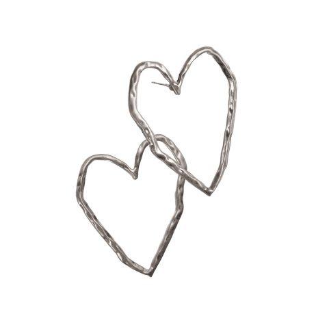 Hot Tomato Jewellery Silver Heart Earrings