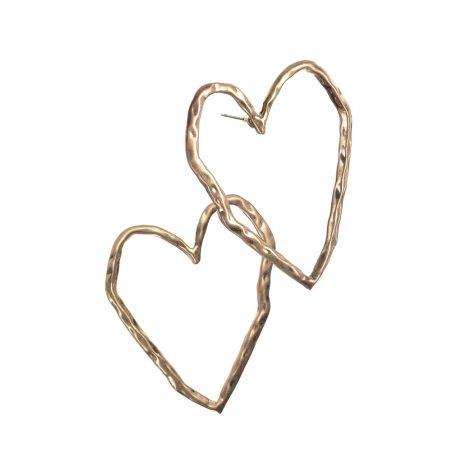 Hot Tomato Jewellery Oversized Gold Heart Earrings