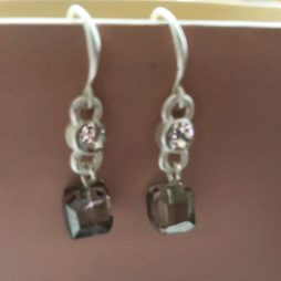 Hot Tomato Jewellery Crystal Cube Silver Drop Earrings