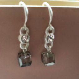 Hot Tomato Jewellery Crystal Cube Silver Drop Earrings