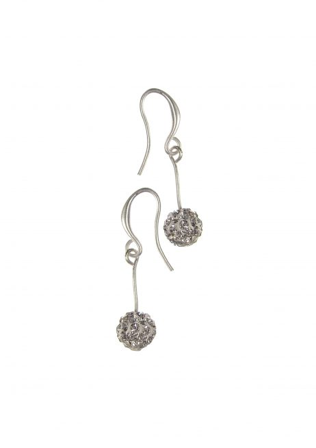 Hot Tomato Jewellery Crystal Silver Ball Drop Earrings