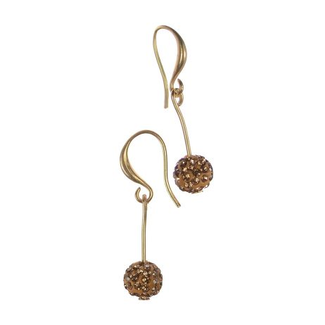 Hot Tomato Jewellery Crystal Gold Ball Drop Earrings