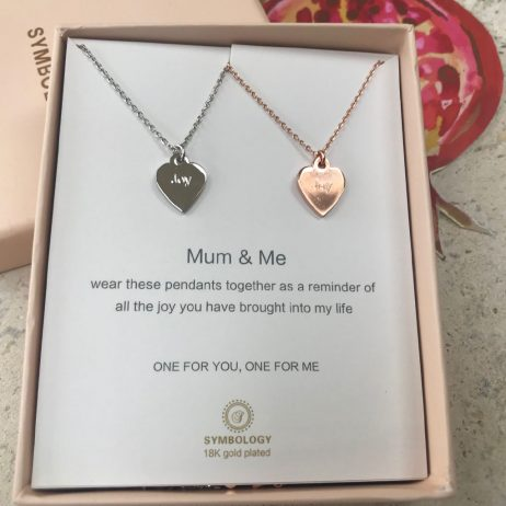 Symbology Mum and Me Silver and Rose Gold Sentiment Pendant Necklaces with Heart