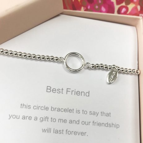 Symbology Best Friend Silver Sentiment Bracelet with Circle
