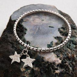 Danon Jewellery Star Shine Double Charm Bangle Silver