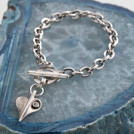 Danon Jewellery Crystal Leaf of Love Chunky Bracelet Silver