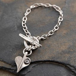 Danon Jewellery Crystal Leaf of Love Delicate Bracelet Silver