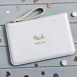 Personalised Bride Pouch Clutch Bag - Pale Pink, White, Grey, Black