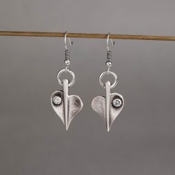 Danon Jewellery Crystal Leaf of Love Drop Silver Earrings