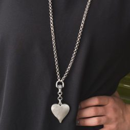 Danon Jewellery Classic Heart Crystal Long Necklace Sliver