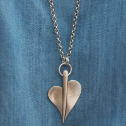 Danon Jewellery Large Leaf of Love Long Necklace Silver N5100S