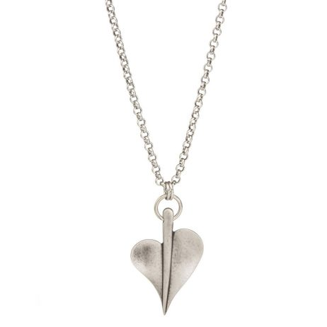 Danon Jewellery Large Leaf of Love Long Necklace Silver