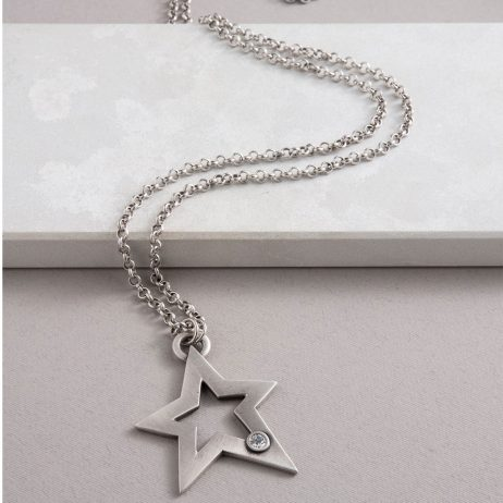 Danon Jewellery Orion Crystal Star Long Necklace Sliver