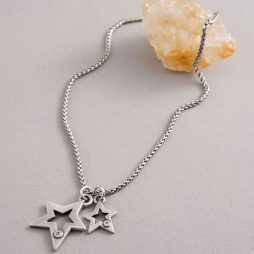Danon Jewellery Lynx Crystal Double Star Necklace Sliver
