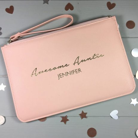 Personalised Awesome Auntie Pouch Clutch Bag