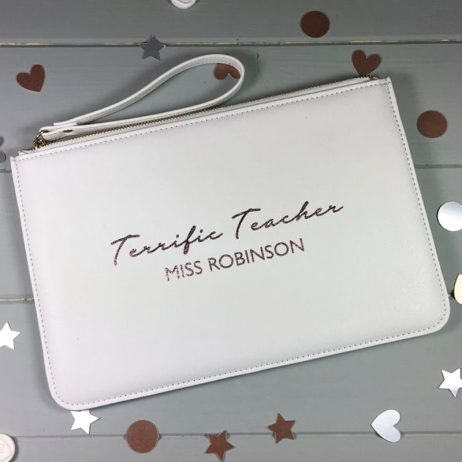Personalised Terrific Teacher Pouch Clutch Bag