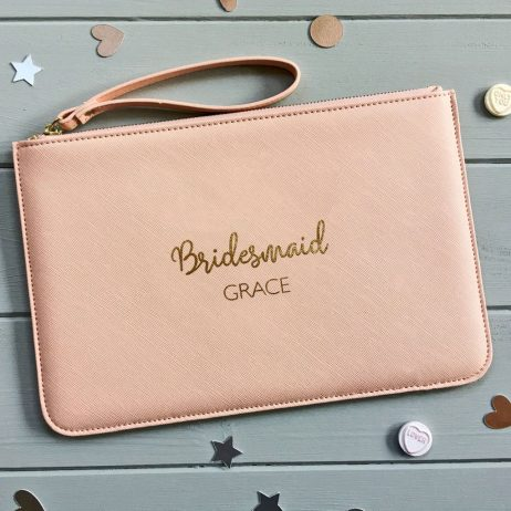 Personalised Bridesmaid Pouch Clutch Bag