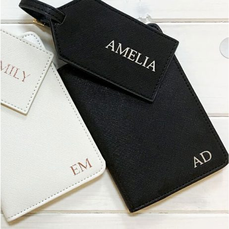 Personalised Passport Holder and Luggage Tag Gift Set - Pink Black White