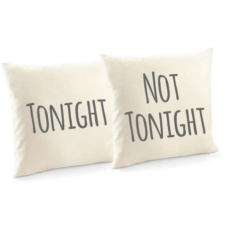 Tonight and Not Tonight Cotton Canvas Cushion Covers and Decorative Throw Pillow Covers - 2 Pack