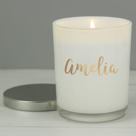 Personalised Gold Name Scented Jar Candle with Lid