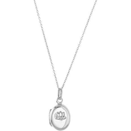 Hultquist Jewellery Sterling Silver Plated Lotus Locket Necklace