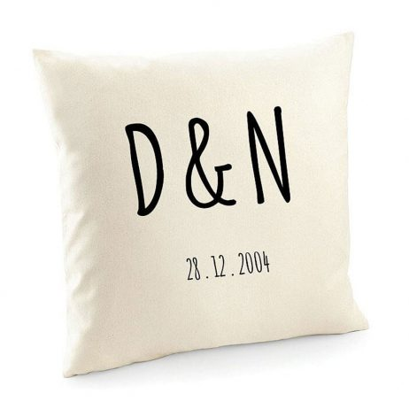 Personalized Initials and Special Date Cotton Cushion Cover | Decorative Home Throw Pillow Cover
